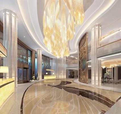 新中式酒店大堂3D模型【ID:427958276】