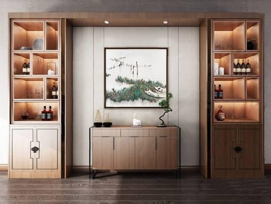 新中式酒柜3D模型【ID:920011071】