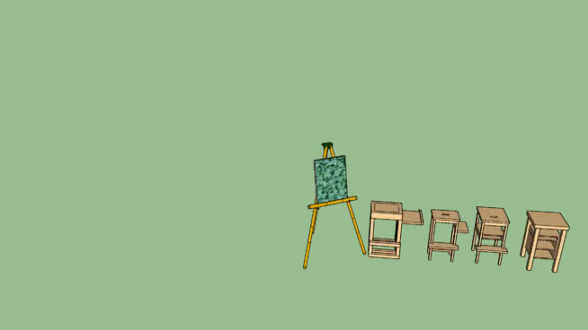 艺术家画架与凳子SU模型【ID:439024789】