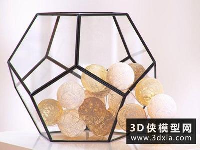 麻繩球形臺燈國外3D模型【ID:829392982】