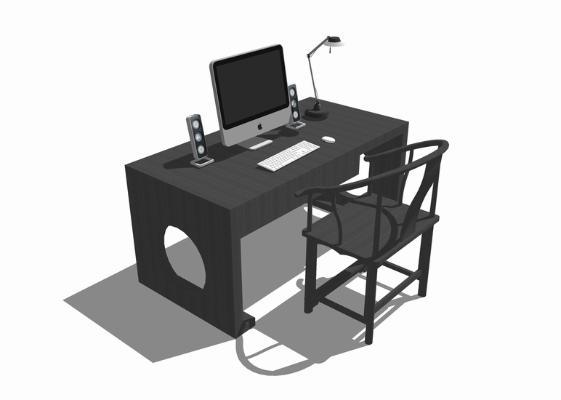 电脑桌椅SU模型【ID:347858740】