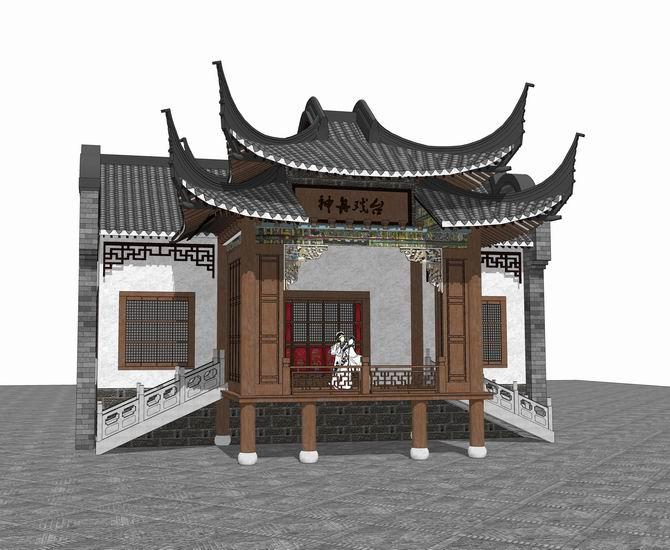 中式戏台SU模型【ID:836995616】