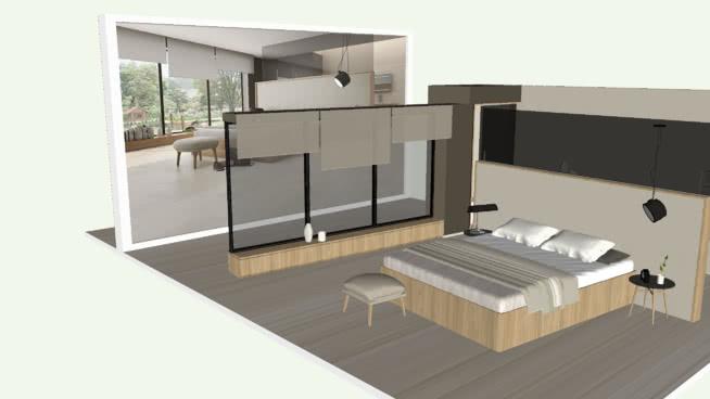 現代斯堪的納維亞現代主臥室宿舍escandinavo委托SU模型【ID:540351073】