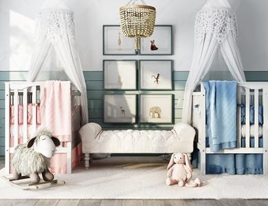 兒童房嬰兒床組合3D模型【ID:832393661】