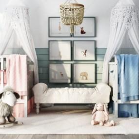 儿童房婴儿床组合3D模型【ID:832393661】
