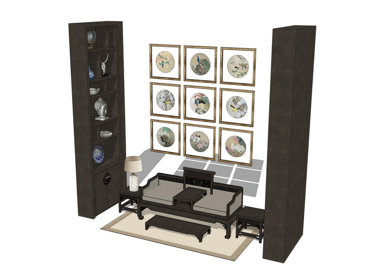 中式客厅沙发茶几组合SU模型【ID:436997108】