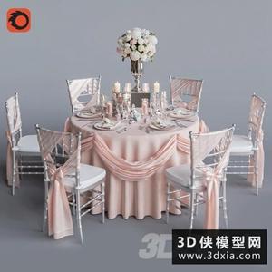 6人的婚禮桌國外3D模型【ID:729295707】