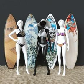 现代服装模特比基尼冲浪板3D模型【ID:527797117】