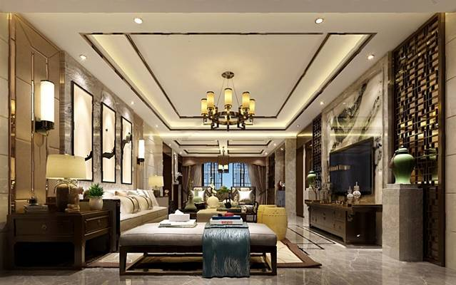 中式客厅3D模型【ID:719609746】