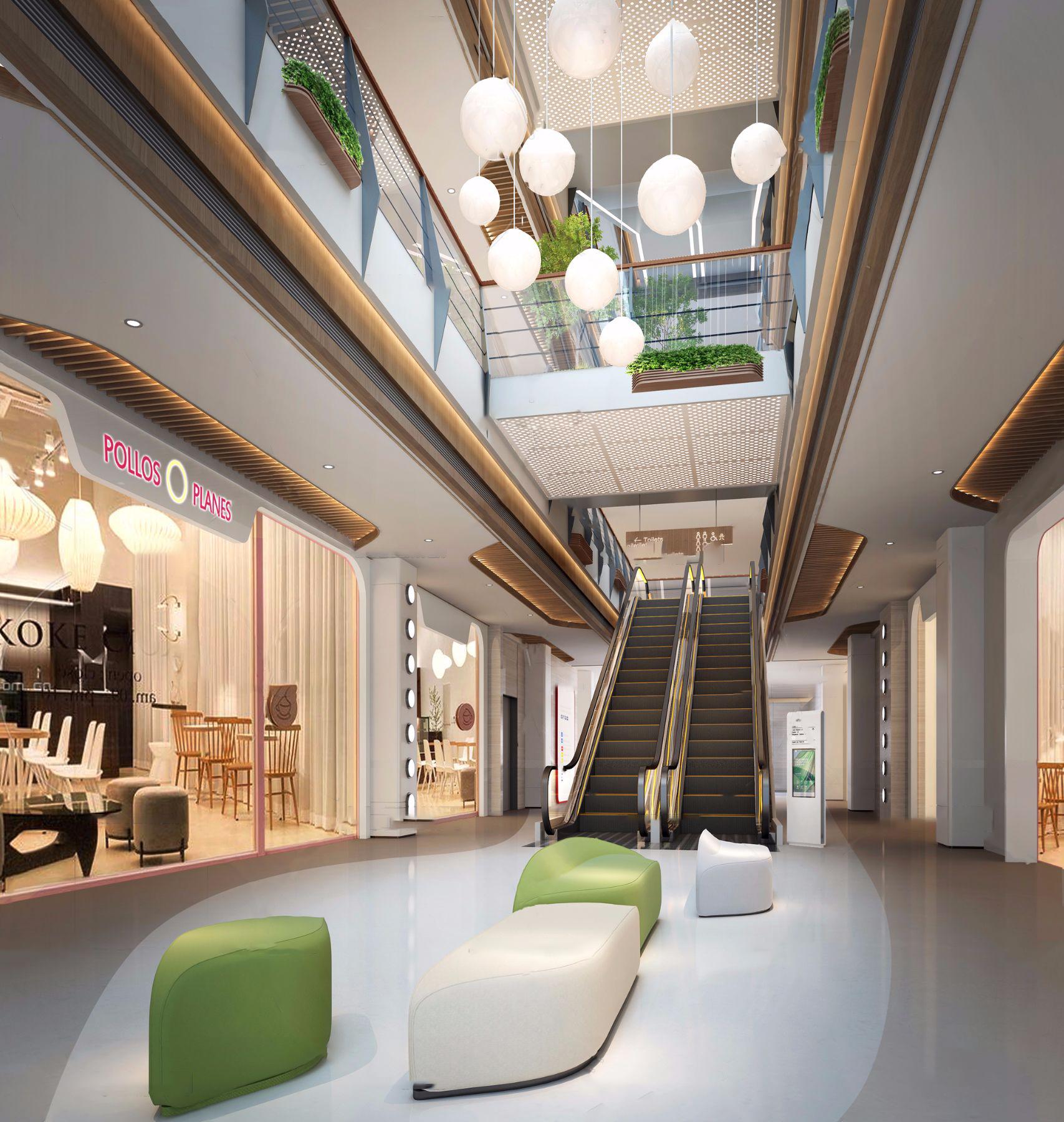 現代商場大廳電梯廳3D模型【ID:143348129】