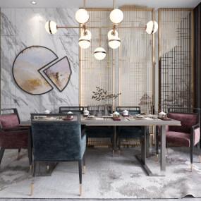 新中式实木餐桌椅3d模型【ID:843349801】