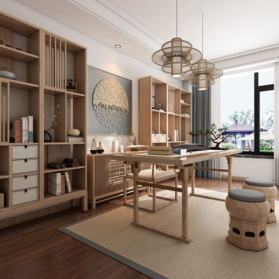 新中式书房3D模型【ID:128403785】