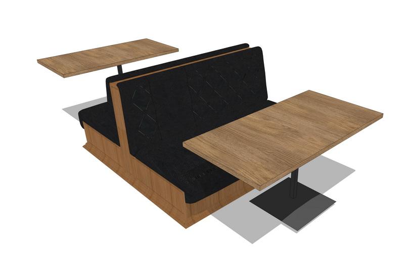 卡座餐桌SU模型【ID:637000652】