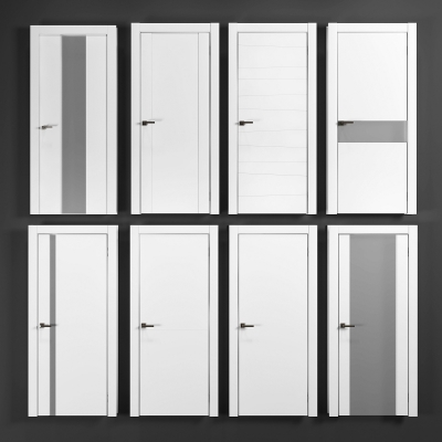现代卫生间门卧室门组合3D模型【ID:728469569】