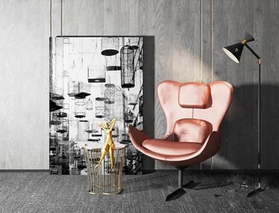 現代單椅落地燈掛畫組合3D模型【ID:732385054】