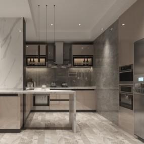 现代厨房3D模型【ID:128412414】