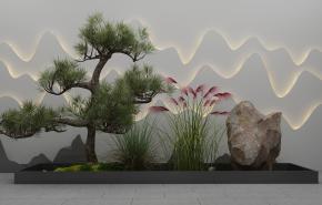 新中式松樹石頭組合3D模型【ID:127754836】