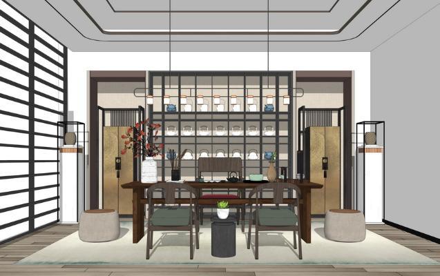 新中式茶室SU模型【ID:948074858】