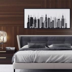 现代双人床床头柜摆件组合3D模型【ID:727812039】
