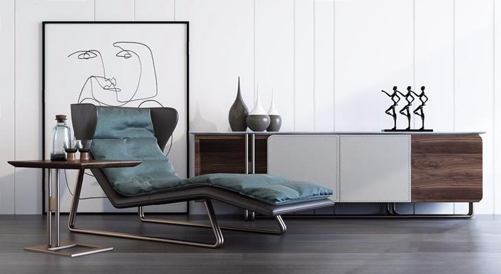 現代躺椅電視柜組合3D模型【ID:227884650】