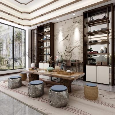 新中式茶室3D模型【ID:327794426】