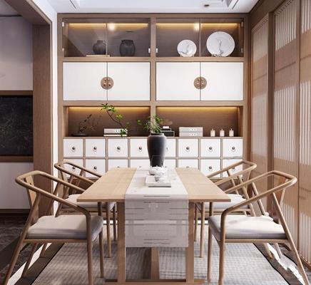 新中式茶室3D模型【ID:328248756】