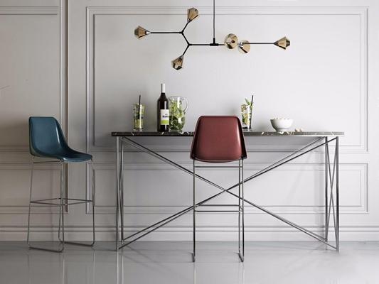 北欧创意吧台吧椅3D模型【ID:628296326】