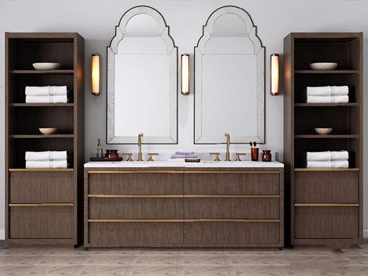 现代洗手台卫浴组合 现代洗手台台盆柜 镜前灯 毛巾 柜子