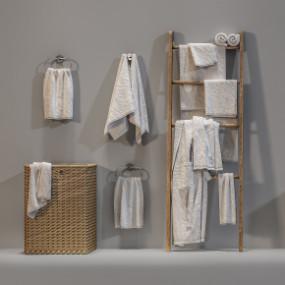 现代毛巾卫浴用品组合3D模型【ID:227779160】