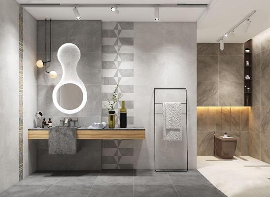 现代高级灰卫浴组合 现代卫浴用品 坐便马桶 梳妆台 吊灯