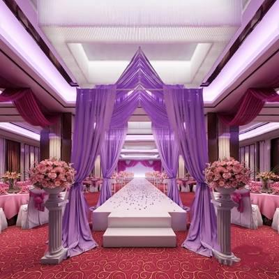 现代宴会厅3D模型【ID:124892886】