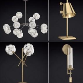 现代灯具组合3d模型【ID:131427231】