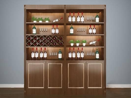 中式酒柜3D模型【ID:920613066】
