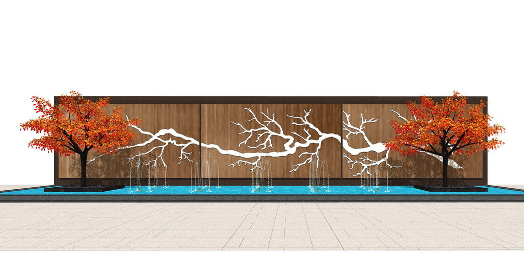 中式景墻山水景墻SU模型【ID:737005050】