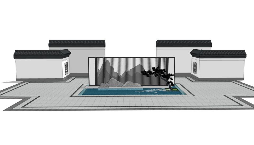 中式假山景墙SU模型【ID:737006059】