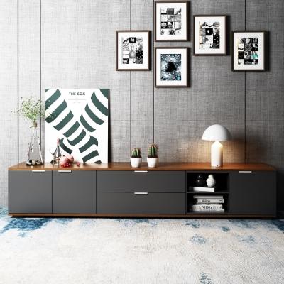现代灰色实木电视柜装饰画摆件3D模型【ID:927836039】