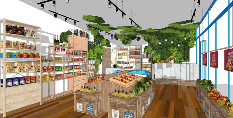 工業風水果店零食店SU模型【ID:446370993】