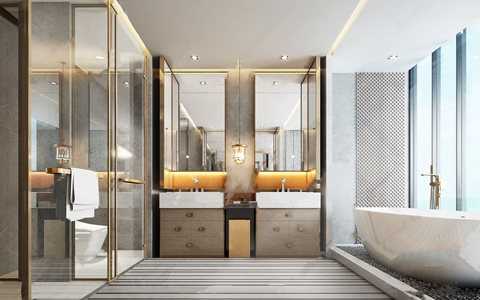 现代简约卫生间 现代卫浴 浴缸 台盆 洗手池 毛巾 吊灯