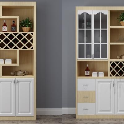 现代实木酒柜摆件组合3D模型【ID:928557045】