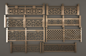 新中式栏杆护栏组合3D模型【ID:827814530】