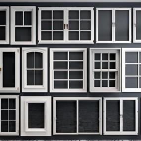 欧式窗户组合3D模型【ID:528005092】