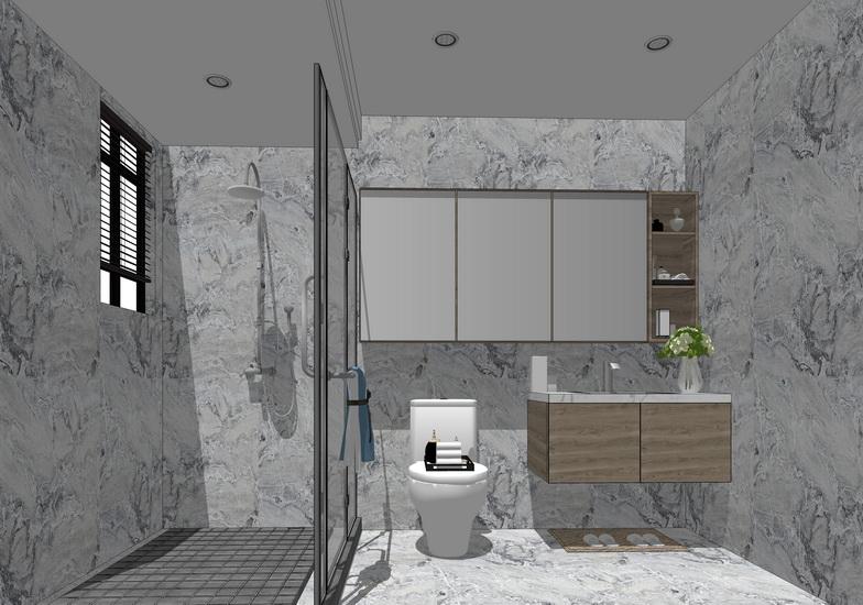 现代卫生间室内设计SU模型【ID:337010482】