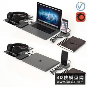蘋果筆記本電腦組合國外3D模型【ID:129320771】