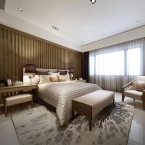 现代豪华卧室床具休闲椅组合3D模型【ID:427937615】