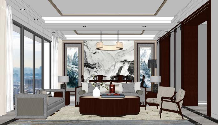 新中式客厅餐厅SU模型【ID:948074819】