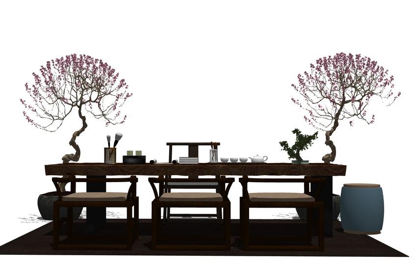 中式茶桌SU模型【ID:437011225】