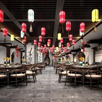 中式餐廳大廳3D模型【ID:328440448】