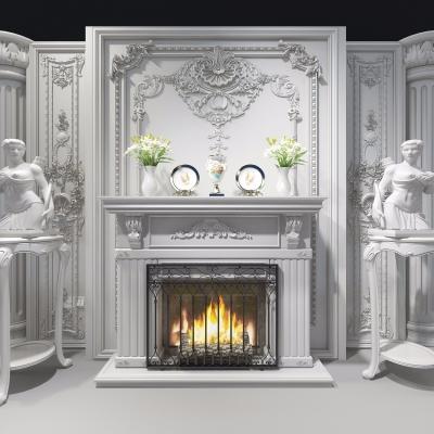 歐式壁爐雕塑組合3D模型【ID:827815123】