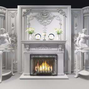 欧式壁炉雕塑组合3D模型【ID:827815123】