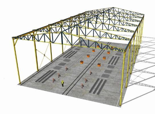 鋼結構框架工業廠房SU模型【ID:846369081】
